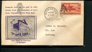 USA SC# 894 Lincoln 75 year Assination Anniv COVER