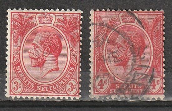 #152 Mint OGNH,154 Used Straits Settlements