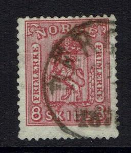 Norway SC# 15, used, Hinge Remnant, few short perfs - Lot 041617