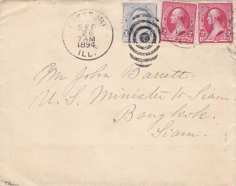 Freeport, IL to Bangkok, Siam, 1894, See Remark (21261)