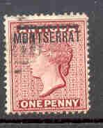 Montserrat Sc 1 1876 1d red Victoria Antigua stamp ovpt used