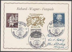 GERMANY 1954 Richard Wagner commem card used - nice franking................B331