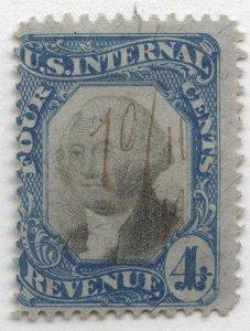 1035 U.S. Revenue Scott R106 6-cent blue and black, manuscript cancel