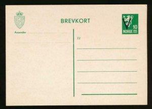 NORWAY Mi. P93 POSTAL STATIONERY POSTAL CARD 10o GREEN