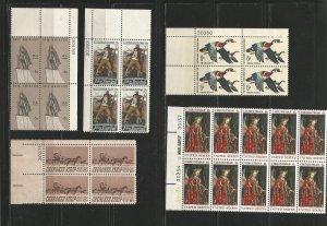 USA Stamps #1359,1360,1361,1362,1363 Blocks of 4 & 10