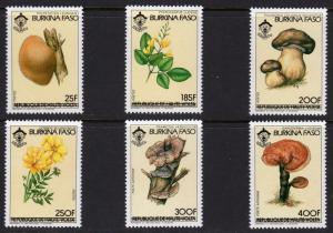 Burkina Faso 1985 Sc#669/674 MUSHROOMS/SCOUTS ovpt. Burkina Faso Set (6) MNH