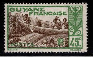 French Guiana Scott 122 MH* stamp vertical crease