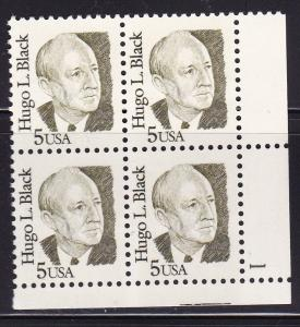United States1986 Great Americans 5c Hugo L. Black Plate Number Block VF/NH