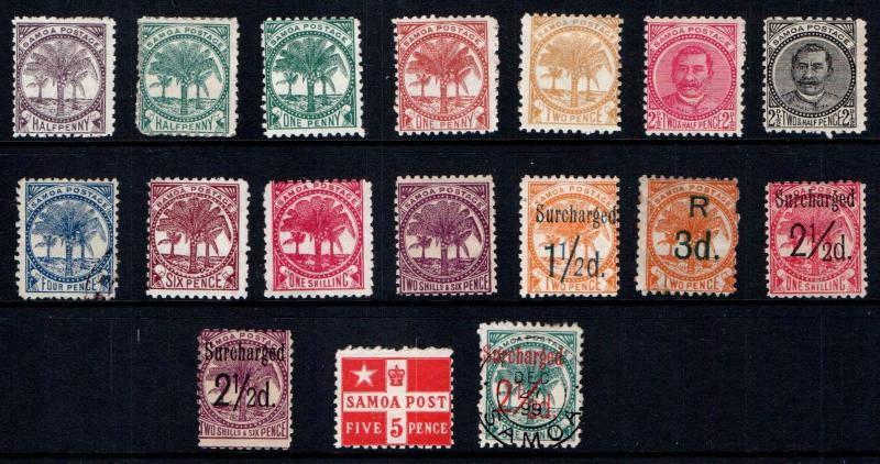 Samoa 1886-1900 Selection of 17 Different See detail description