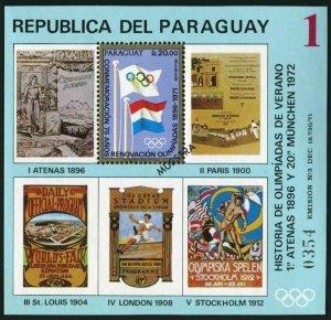 Paraguay C340-C343 Specimen,MNH.Mi Bl.182-185. History of Olympic Games,1972.