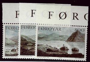 Faroe Islands SC#122-24 Mint VF SCV$6.50...Faroe Islands are Magical!