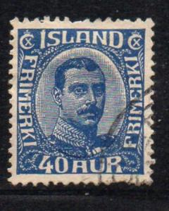 Iceland Sc 124 1921 40 aur dark blue Christian X stamp used
