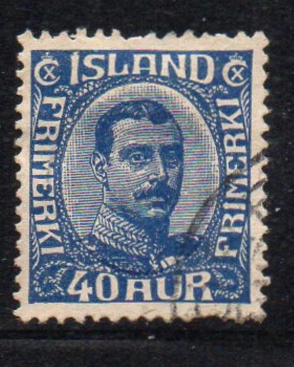 Iceland Sc 124 1921 40 aur dark blue Christian X stamp used