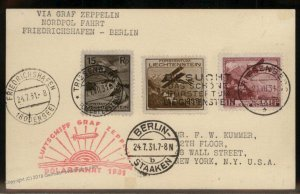 Liechtenstein 1931 Graf Zeppelin Si119 Polarfahrt Berlin Cover 93305