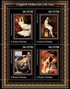 St Thomas - Delacroix Art 4 Stamp  Sheet ST11218a