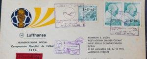 O) 1974 CHILE, MAHATMA GANDHI, WORLD FOOTBALL CHAMPIONSHIP, FLIGHT LH491 CHILE