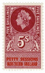 (I.B) Elizabeth II Revenue : Petty Sessions (Northern Ireland) 5/- (unlisted)