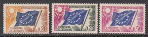 France Council of Europe SC# 1O7-9  1963 Flag MNH