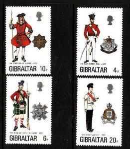 Gibraltar-Sc#318-21- id5-unusedNH set-Military-Uniforms-1975-