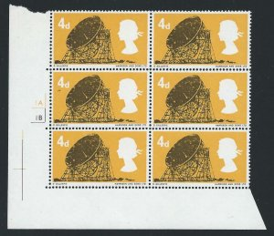 1966 British Technology 4d (Ord) No Dot Cylinder Block - MNH