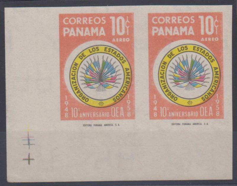 PANAMA 1958 FLAGS Sc C204 CORNER MARGINAL IMPERF PAIR PROOF UNISSUED COLOR MNH