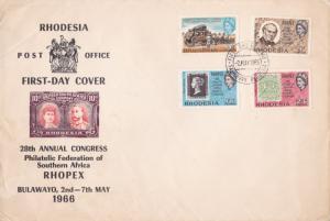 rhodesia 1966 rhopex anual congress multi stamps cover ref r14448