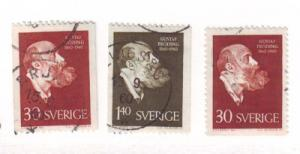Sweden Sc 559-61 1960 Poet Froding stamps used