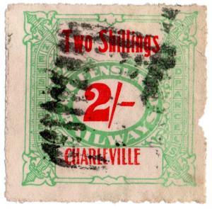 (I.B) Australia - Queensland Railways : Parcel Stamp 2/- (Charleville)