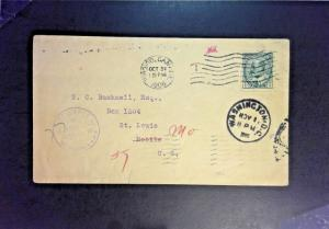 Canada 1906 Toronto Cover to USA / Deficiency Address Stamped - Z1364