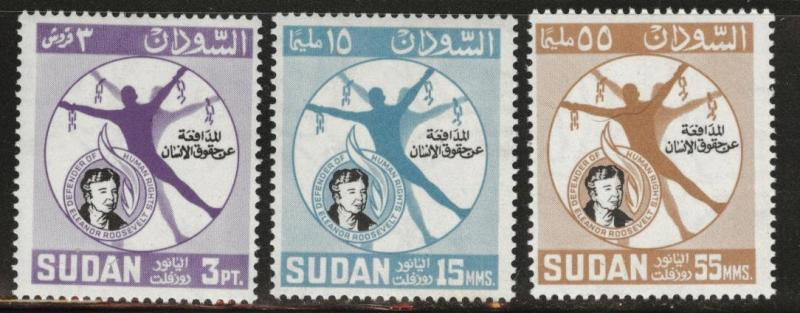 SUDAN Scott 170-172 MH* 1964 Eleanor Roosevelt set