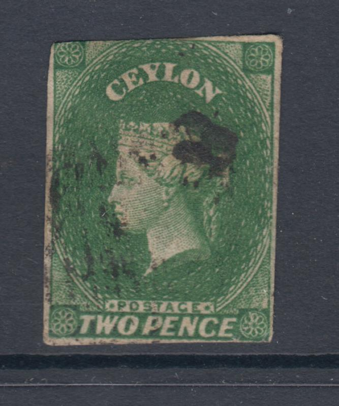 Ceylon Sc 4a used 1857 2p yellow green imperf QV, crease, F-VF appearing