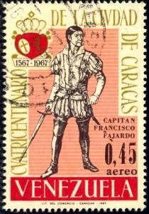 Captain Francisco Fajardo, Venezuela stamp SC#C953 used