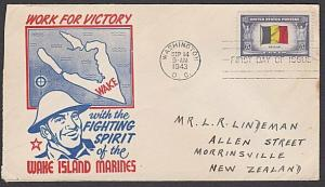 USA 1943 FDC to New Zealand - Overrun Nations BELGIUM......................57717
