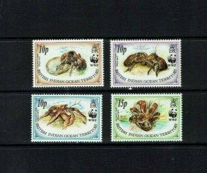 BIOT: 1993 Endangered Species, Coconut Crab, MNH set