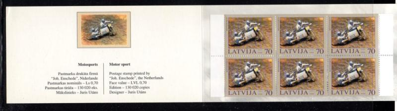 Latvia Sc 580a 2003 Cycle Helsinki stamp booklet mint NH