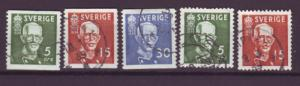 J13525 JLstamps 1938 sweden set used #275-9 king