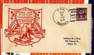 USS BEAVER  AS5 1935 US Cachet Naval Cover 3c Washington Stamp  ARMISTICE Cds F