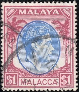 Malacca 1949 KGVI $1 Blue and Purple FU