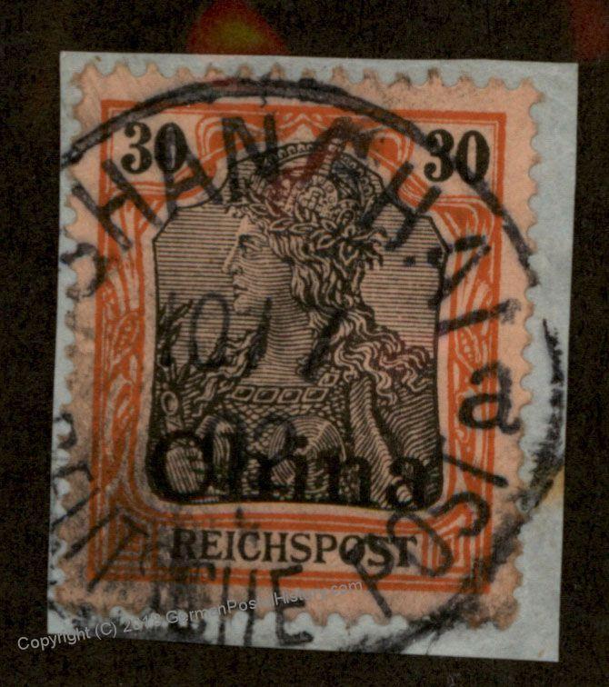 Germany 1902 China SHANGHAI 30pf Reichspost Overprint Stamp 88628