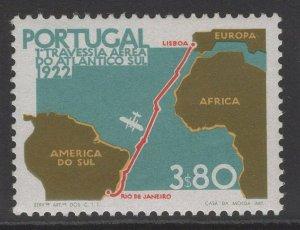 PORTUGAL SG1492a 1972 3E80 FLIGHT FROM LISBON TO RIO DE JANEIRO p13½ MNH