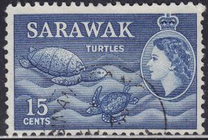 Sarawak 204 USED 1955 Sea Turtles