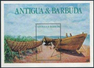 Barbuda 837,MNH.Michel 933 Bl.117. Boat building,1987.