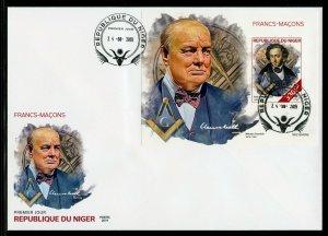 Niger 2019 Free Masons Churchill, Mendelssohn Souvenir Blatt Ersttagsbrief