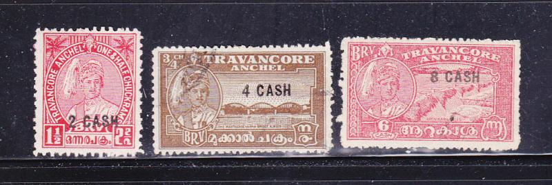 India Travancore 45-47 Set U Maharaja Sir Bala Rama Varma