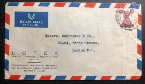 1948 Bombay India Commercial Airmail LOTEX Cover To London England