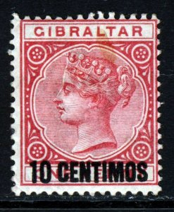 GIBRALTAR Queen Victoria 1889 10 CENTIMOS Surcharge on 1d. Rose SG 16 MINT