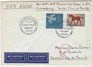 Luxembourg 1962 Wings KarAir Santa Cruz Heatwaves Slogan Stamps Cover ref 22742