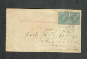 Charlottesville VA Cover Mar 9 1864 CSA Sc#7 Pair On Sc#u26, Stamps Lifted