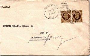 UK > Rialto Stamp Lakewood Jersy USA 194? brown GVI 1s stamps