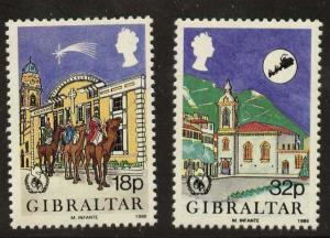Gibraltar 496-7 MNH Christmas, International Peace Year, Animals